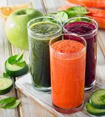 Glasses With Fresh Vegetable Juices . Detox Diet