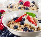 Healthy Breakfast With Ripe Fresh Berries  And  Muesli.