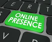 Online Presence words on a computer keyboard key or button to illustrate good website visibility on the Internet through good SEO or search engine optimization