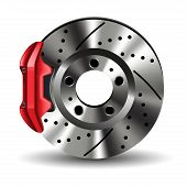 image of truck-stop  - Brake disc with caliper isolated on white - JPG