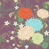 stock photo of chrysanthemum  - vintage ornate chrysanthemum seamless pattern over purple background - JPG