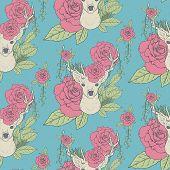 Elegant Seamless Pattern With Deer Antlers And Roses