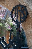 stock photo of filerimos  - Religious decoration at the Cloister entrance at Ialyssos monastery on the Greek island of Rhodes - JPG