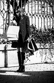 Woman Carrying Bags After Shopping