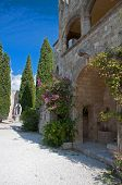 foto of filerimos  - Cloisters and decorated well at Ialyssos monastery on the Greek island of Rhodes is built at the top of Mount Filerimos - JPG