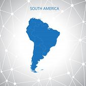 South America map, communication background . Vector illustration