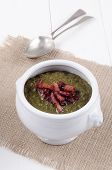 Callaloo Soup With Grilled Bacon Bits