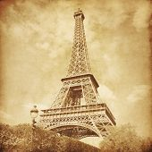 View of Eiffel Tower.Paris.Old style photo.