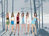 Posing women - silhouette  illustration