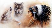 Beautiful Airbrush Painting Of A Young Indian Woman Wearing  With Wolf  Profile Portrait Eye Contact