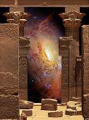 Hathor Temple On Agilkia Island And Galaxy M106 (elements Of Thi
