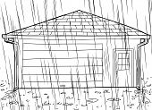 Outlined Garage With Rain And Spouts