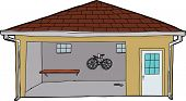 Isolated Garage With Bike And Doorway