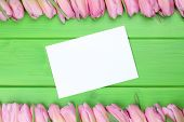 Frame From Tulips Flowers In Spring Or Mothers Day With Greeting Card