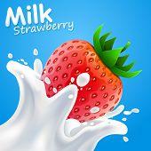 Label milk strawberry. vector illustration
