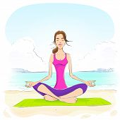woman sitting in yoga lotus position closed eyes relaxing doing exercises