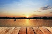 picture of boat  - wood with sunset evening in river with boats - JPG