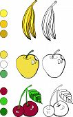 Coloring book with banana, apple and cherry vector illustration