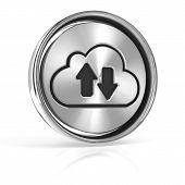 Metal cloud technology icon, 3d render,