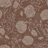 stock photo of chrysanthemum  - Seamless floral pattern with chrysanthemum - JPG