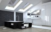 3d Rendering of Interior of Modern Black and White Bathroom with Sunny Skylights in Ceiling