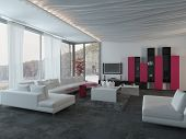 3D Rendering of Close up Attractive Architectural Living Room Design with White, Black and Dark Pink Furniture.