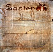 Wooden Planks With Stamping Easter, Scratches And Texture