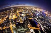 Fisheye view of Melbourne CBD , Australia