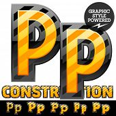 Vector set of striped orange and yellow alphabet in black border. Warning of danger style. Letter P