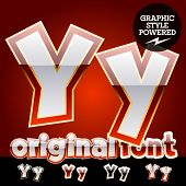 Vector set of original glossy white alphabet with gold border. Letter Y