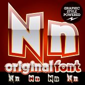 Vector set of original glossy white alphabet with gold border. Letter N