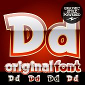Vector set of original glossy white alphabet with gold border. Letter D