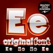 Vector set of original glossy white alphabet with gold border. Letter E