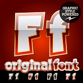 Vector set of original glossy white alphabet with gold border. Letter F