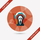 picture of reaper  - Grim Reaper Flat Icon With Long Shadow - JPG