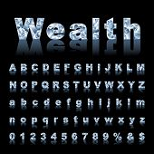 vector gemstone alphabet with reflection