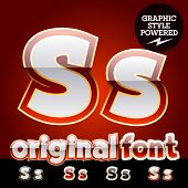 Vector set of original glossy white alphabet with gold border. Letter S