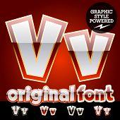 Vector set of original glossy white alphabet with gold border. Letter V