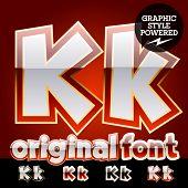 Vector set of original glossy white alphabet with gold border. Letter K