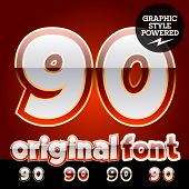 Vector set of original glossy white alphabet with gold border. Numbers 9 0