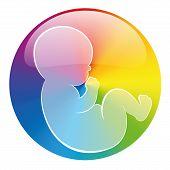 Baby Symbol Rainbow Circle White