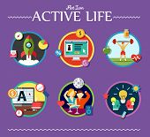 active life collection of vector illustration various topics flat style