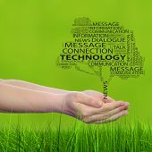 Concept or conceptual tree contact word cloud tagcloud in man or woman hand on green blur grass background