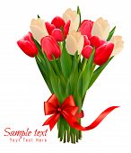 Holiday Background With Bouquet Of Colorful Flowers With Bow And Ribbon. Vector Illustration