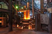 foto of furnace  - Working electroarc furnace at the metallurgical plant - JPG