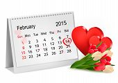 Valentine's Day Calendar. February 14 Of Saint Valentines Day.