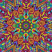 stock photo of psychedelic  - Hand drawn abstract background ornament illustration psychedelic - JPG
