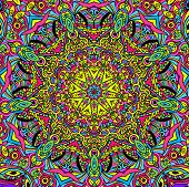 foto of psychedelic  - Hand drawn abstract background ornament illustration psychedelic - JPG