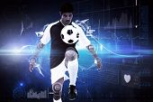 Football player against glowing technological background
