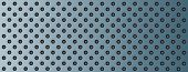 High resolution concept conceptual blue metal stainless steel aluminum perforated pattern texture mesh background banner